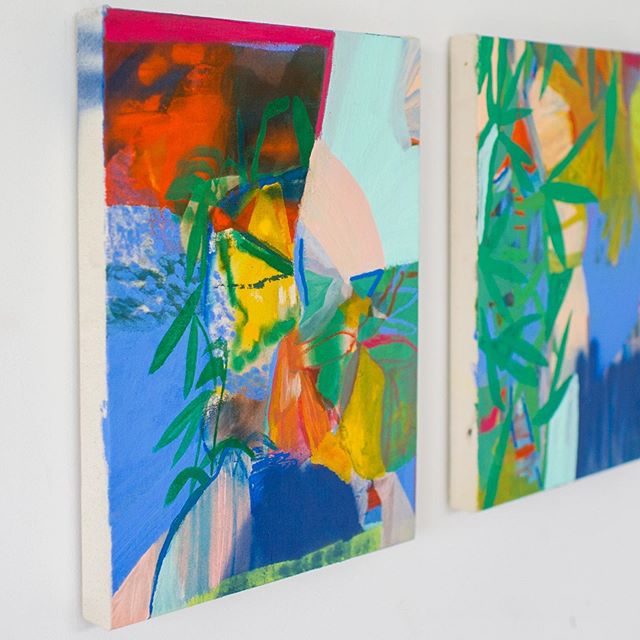 """Here is the work I sent across the pond for the @spiltmilkgallery show opening 9/28 in Edinburgh! A diptych titled """"An Unceasing Birth"""". Both pieces are 12"""" x 16"""", acrylic, spray paint, and pastel on canvas.  Super fun but full disclosure, pretty expensive, to send work to a show so far away but I couldn't pass up the opportunity to have my paintings hanging alongside some of the artists who inspire me most including @sarahirvinart @nadianizamudin @emilyzarse @myacluffstudio @libbymcfalls_artist @leenowellwilson @laurenfrancesevans and @tracymtaylor , curated by @laurenlifeartandstuff all who I have connected with via @artistmotherpodcast — women supporting women and growing community ya'll! Nothing better. ⚡️"""