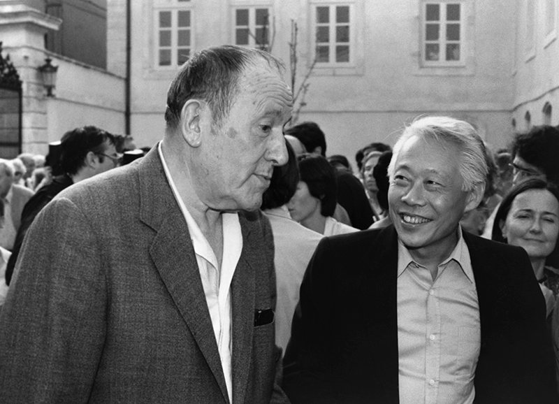 With René Char at the inauguration of the Hôtel de Campredon – Maison René Char, in l'Isle-sur-la Sorgue, 1982. Photo: Françoise Marquet