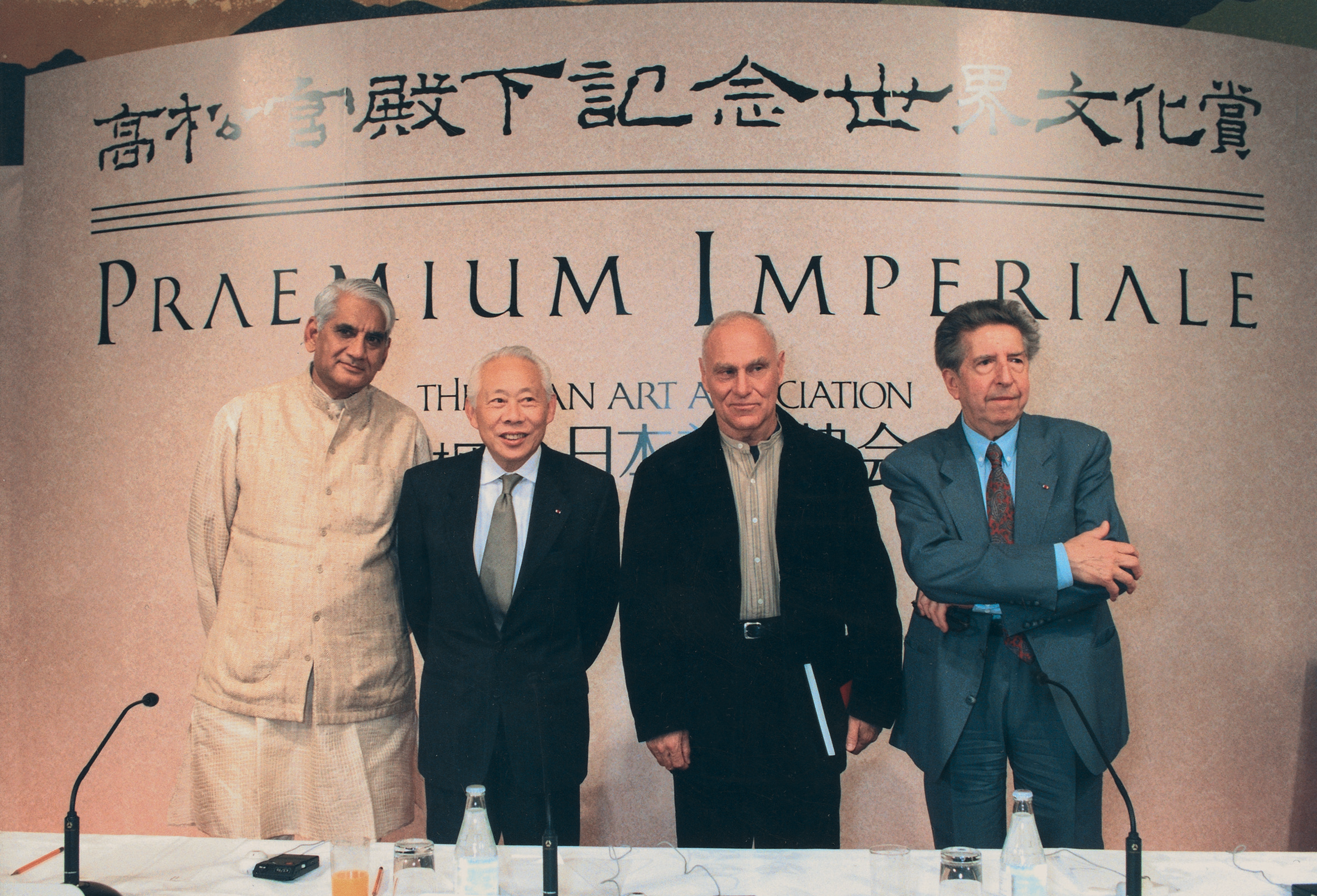 The winners of the  Praemium Imperiale  of Japan in 1994: Charles Correa (architecture), Zao Wou-Ki (painting), Richard Serra (sculpture) and Henri Dutilleux (music). All rights reserved.