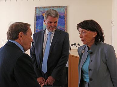 André Laignel, maire d'Issoudun, Me Daudruy, notaire et Françoise Marquet-Zao