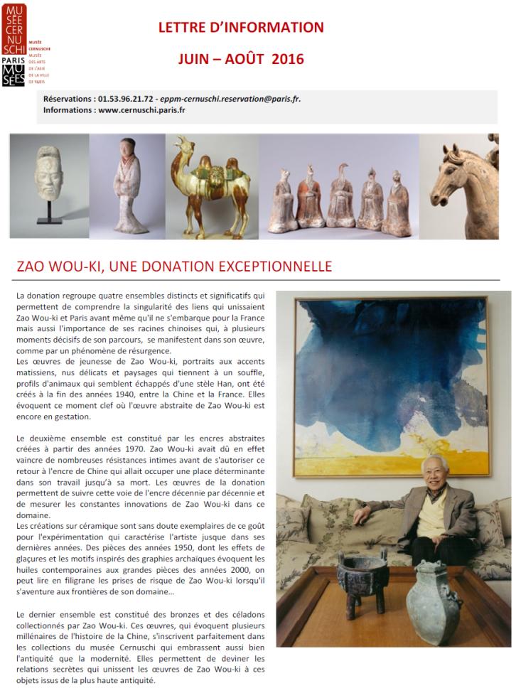 L'actualité du musée Cernuschi juin août 2016