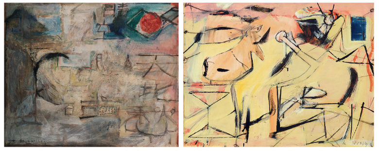 (L) Untitled, Zao Wou-Ki, 1949 / (R) Sail Cloth, Willem de Kooning, 1949 (Rights reserved)