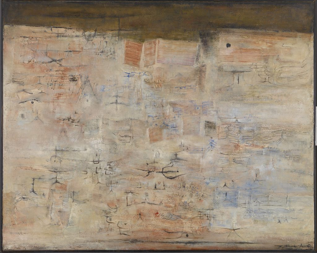 Fig. 1. Traces dans la ville  (Tracks in the City), 1954. Oil on canvas, 51 15/16 x 64 in. (131.9 x 162.6 cm). Gift of The Honorable Sherwood Tarlow, 1993.016