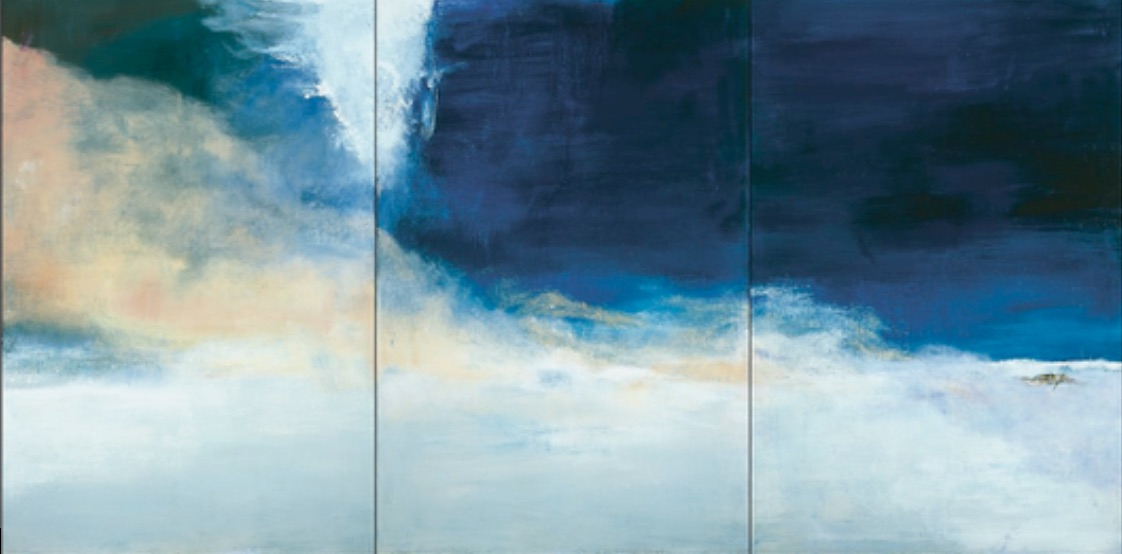 Zao Wou-Ki, Le vent pousse la mer, 2004 Huile sur toile 194,5 x 390 cm Collection particulière Photo : Dennis Bouchard Zao Wou-Ki, © ADAGP, Paris, 2018