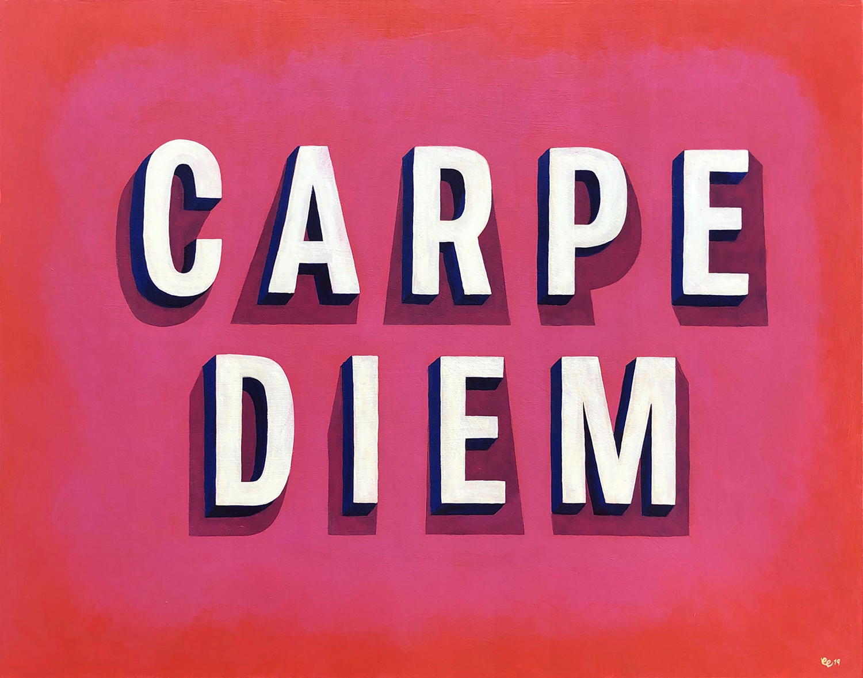 Carpe Diem,  acrylic on wood, 24 x 30 x 2 inches
