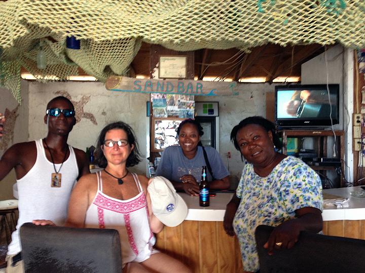 Patrons Lamont and Deb, bartender Lilli, and proprietor Kay.
