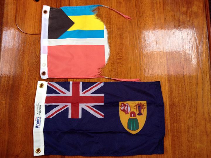 Bahamas courtesy flag a little worse for wear.