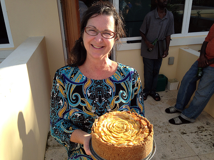 Deb poses for a cheesecake photo.