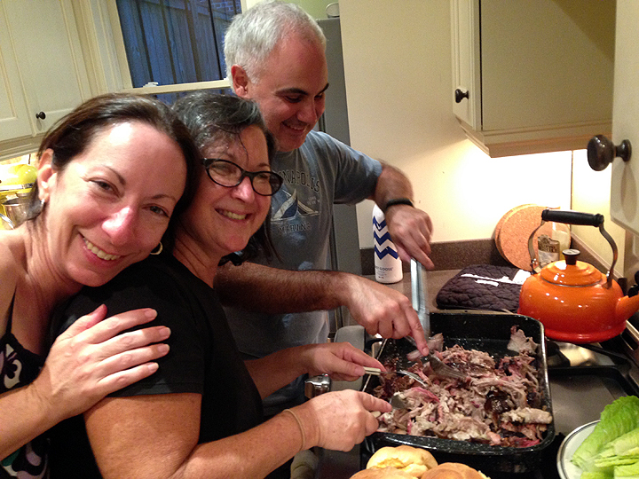 Yvonne, Deb, and Onat pulling pork.