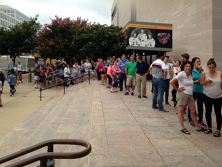 On line at the National Air and Space Museum to get eclipse glasses