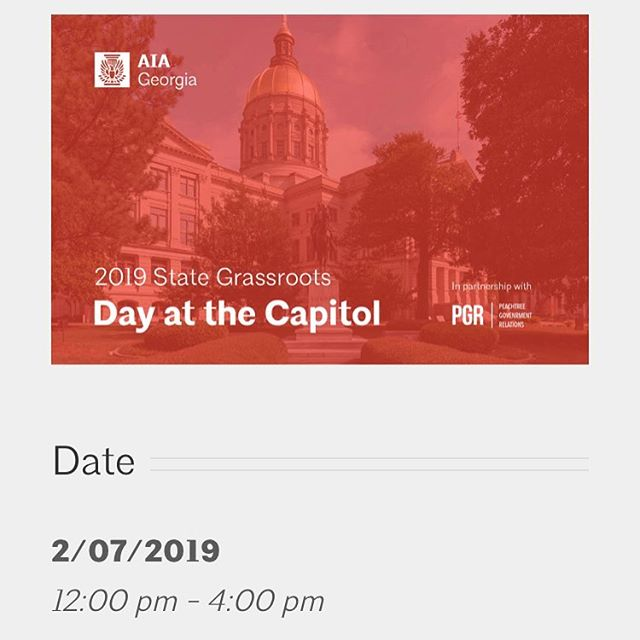 2019 Georgia Grassroots Day at the Capitol! Use the link to RSVP if you're interested or just want to know more info. Great opportunity to meet some new faces!  https://www.aiaga.org/events/grassroots-2019/
