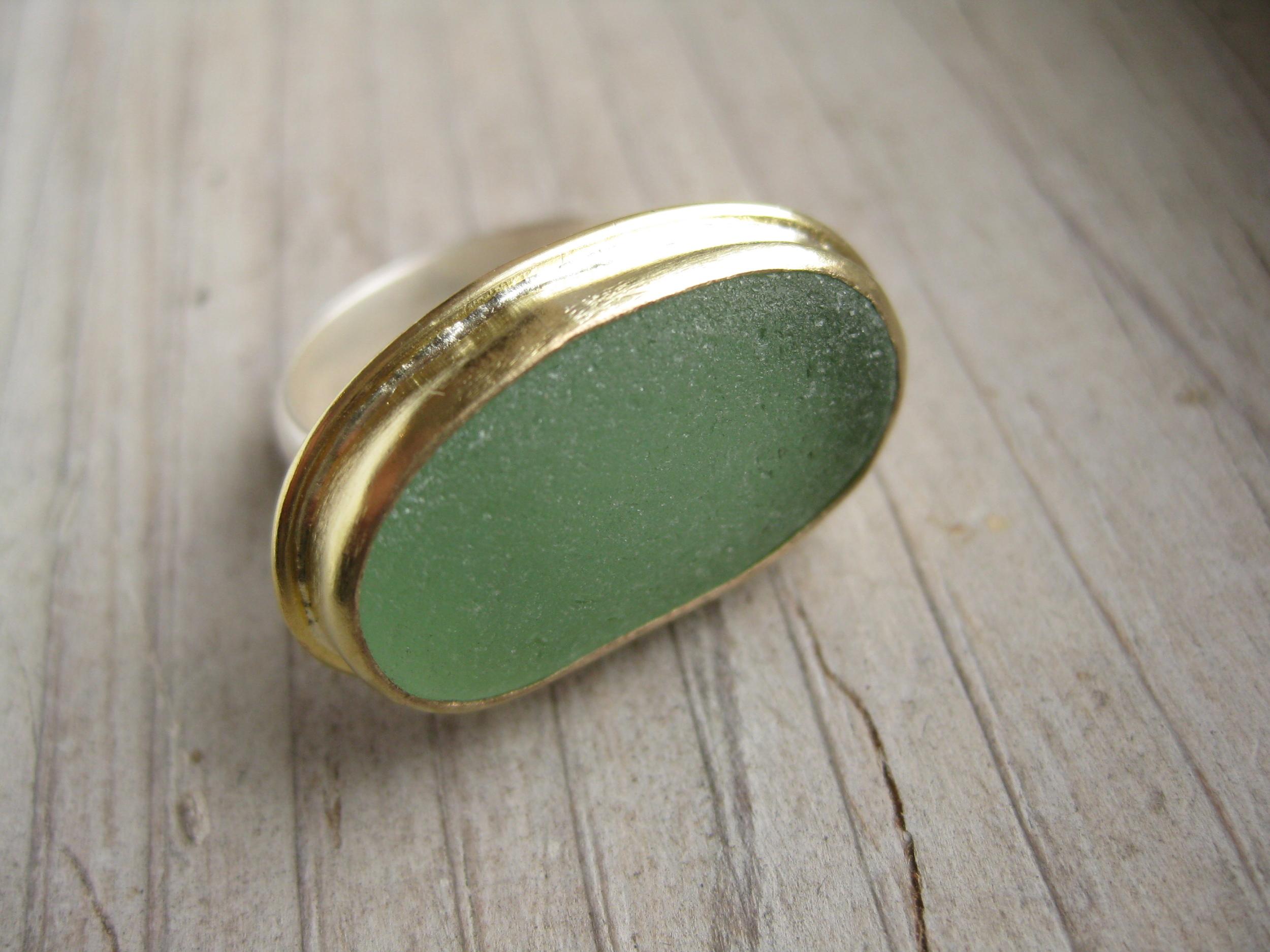 Natural Sea Glass Ring by Lisa Hall