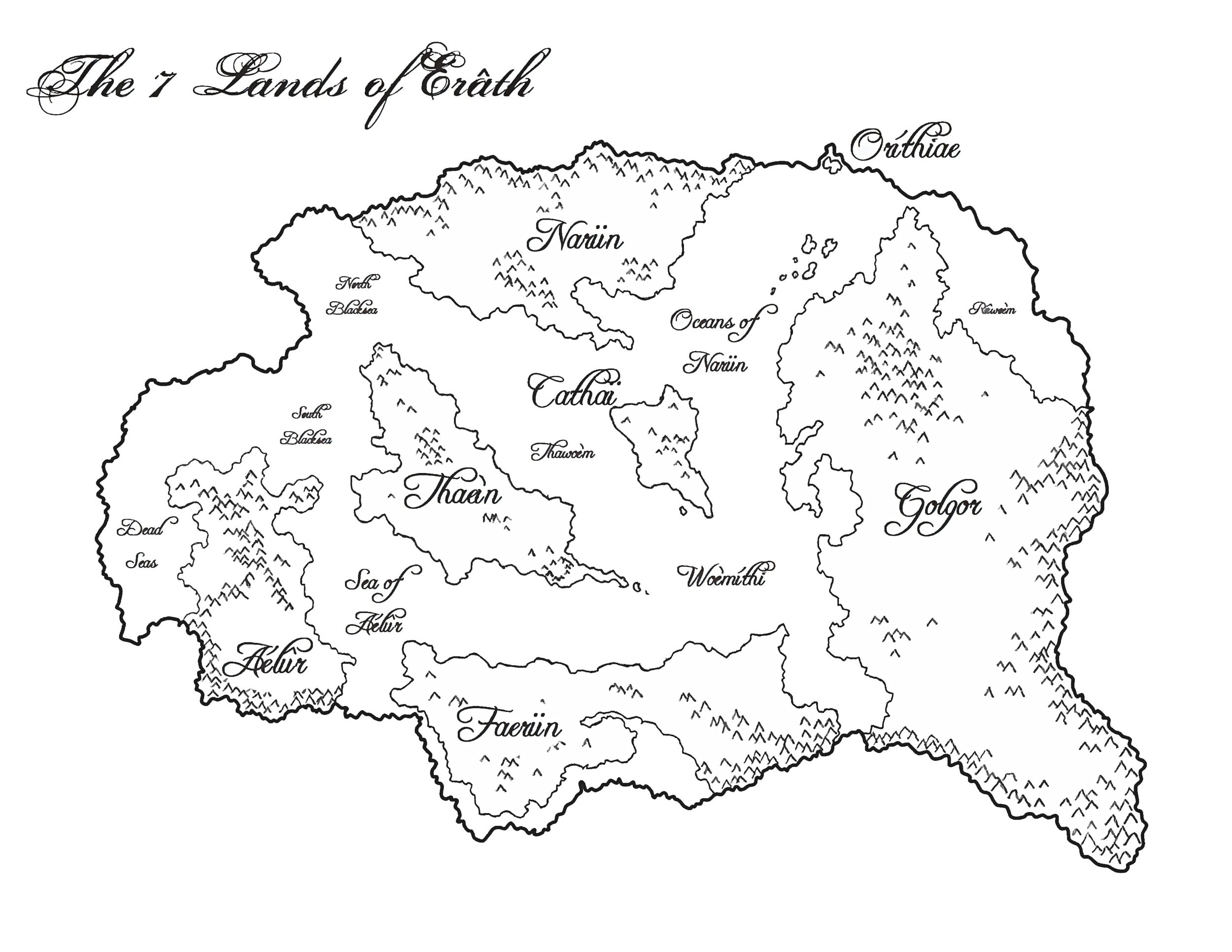 The seven great lands of Erâth, spread from west to east: Aélûr, Thaeìn, Narün, Faerün, Cathaï, Oríthiae and Golgor.