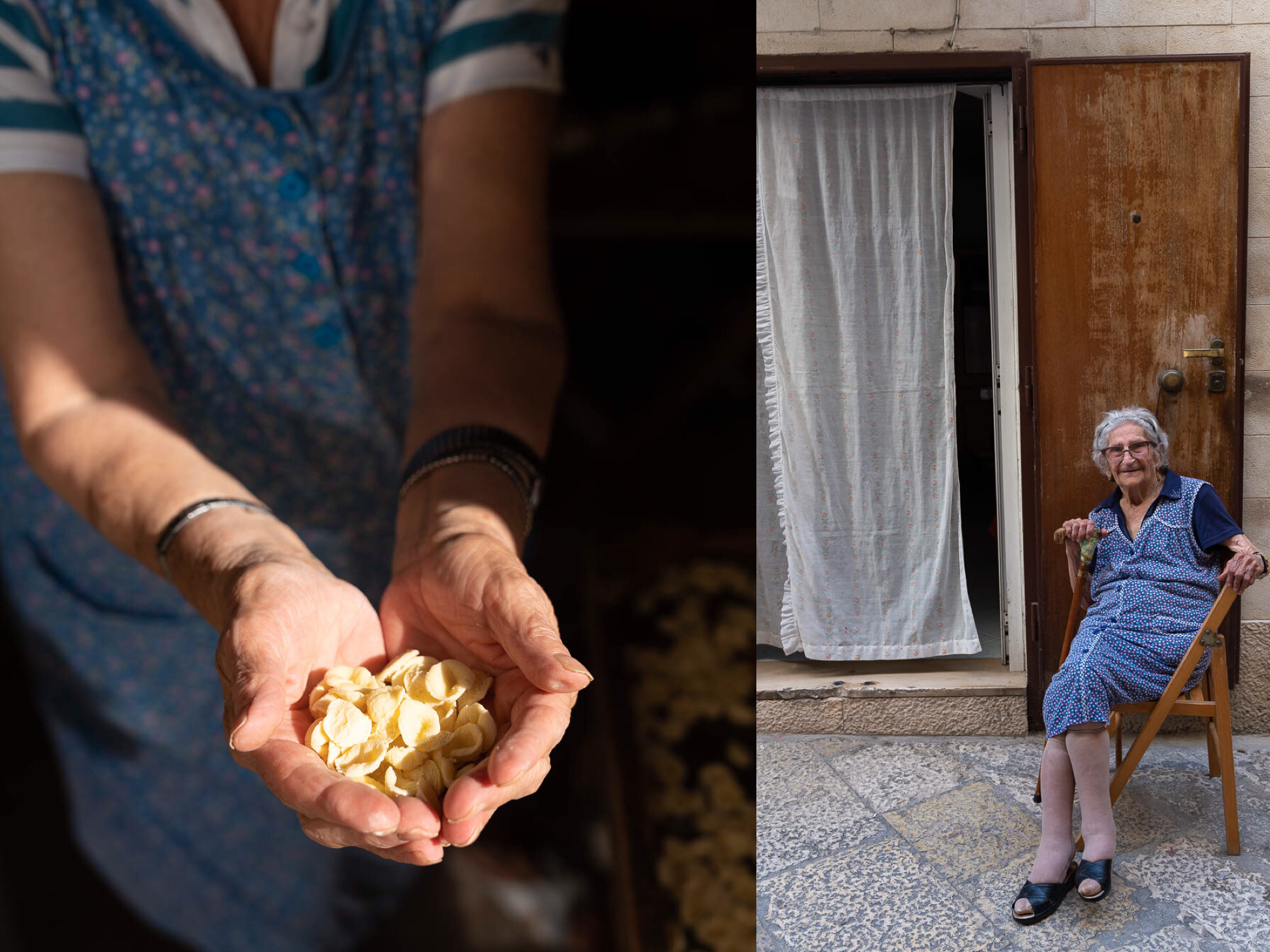 Rina with her orecchiette (left); and Anna (99) (right)