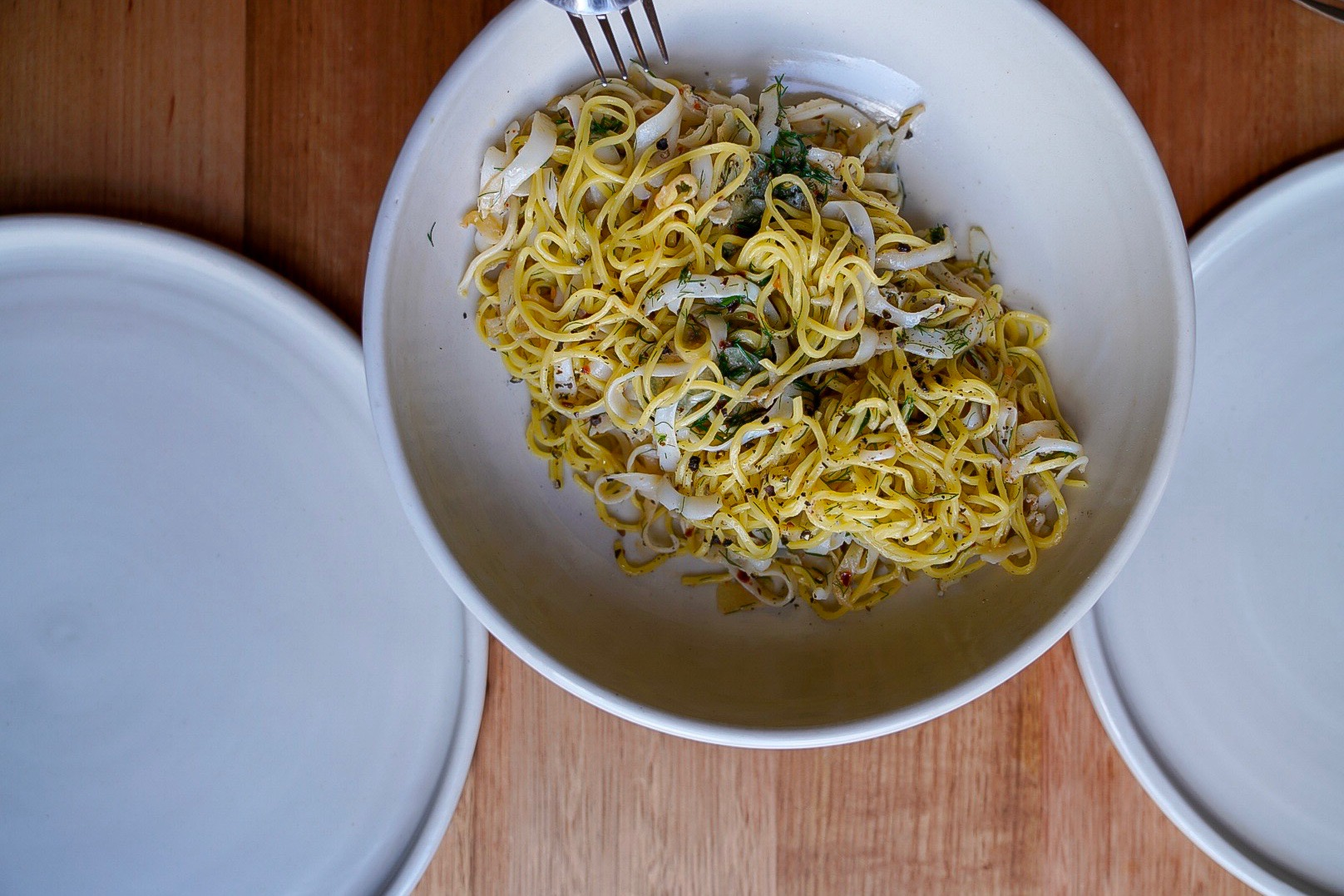 'Capelli d'angelo with calamari, garlic + wild fennel', The Agrarian Eatery, New Norfolk
