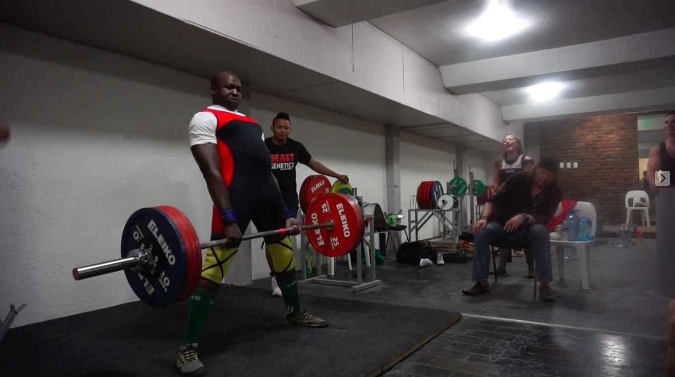 Ndoo - Ndoo weighed in at 99.75kg and competed in the Male 105kg Open Class totalling an amazing 517.5kg.SquatAttempt 1 - 130kgAttempt 2 - 135kgAttempt 3 - 145kg XBenchAttempt 1 - 140kgAttempt 2 - 155kgAttempt 3 - 162.5kgDeadliftAttempt 1 - 170kgAttempt 2 - 200kgAttempt 3 - 220kg