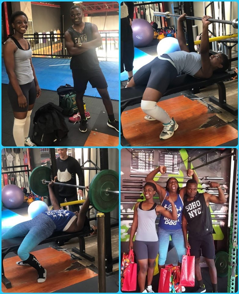 Our lifters upon their arrival in South Africa - training and receiving their care packages.