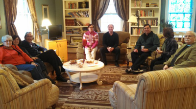 Some of our adult learners taking a break in the parlor