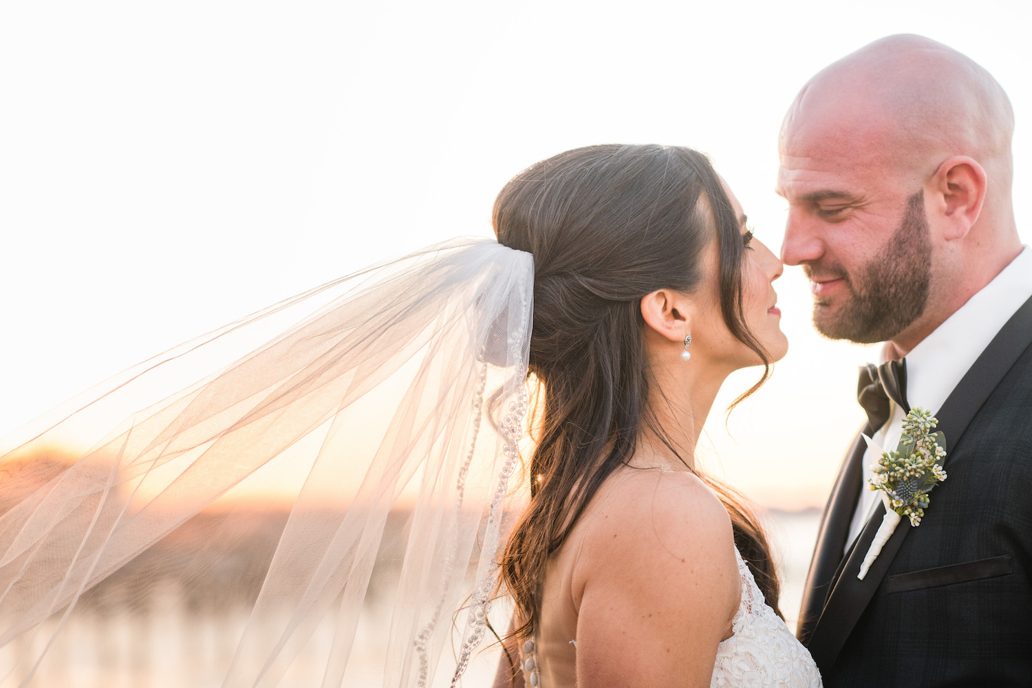 Sunset Portrait of Bride and Groom at Clark's Landing Yacht Club in Point Pleasant, NJ