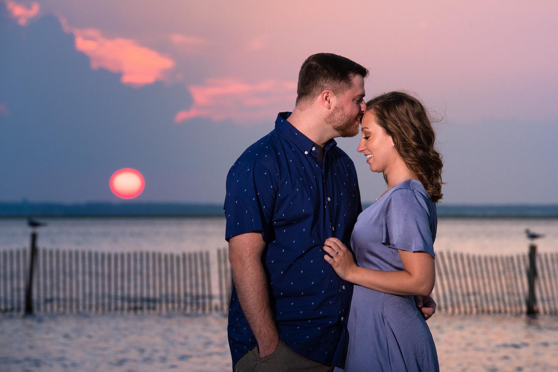 Engagement photos on Long Beach Island in Barnegat Light NJ Melani