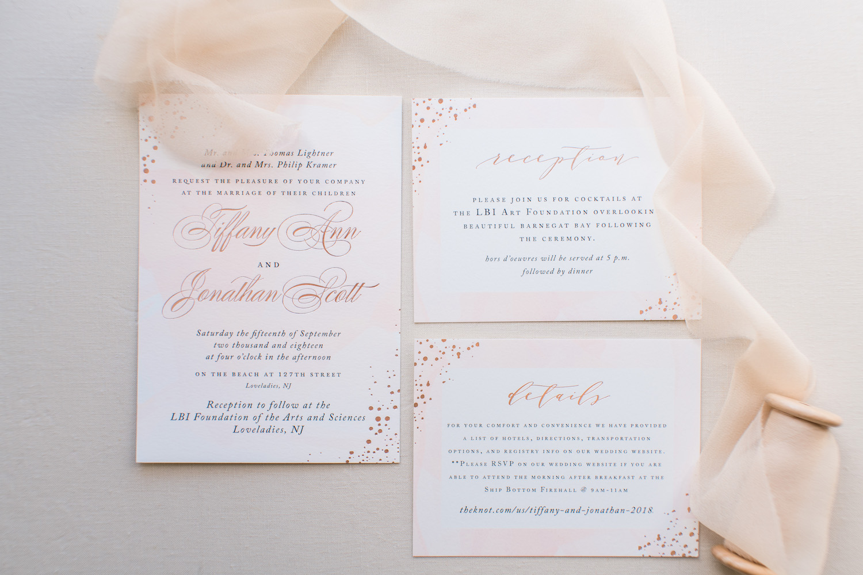 long beach island foundation of arts wedding invitation