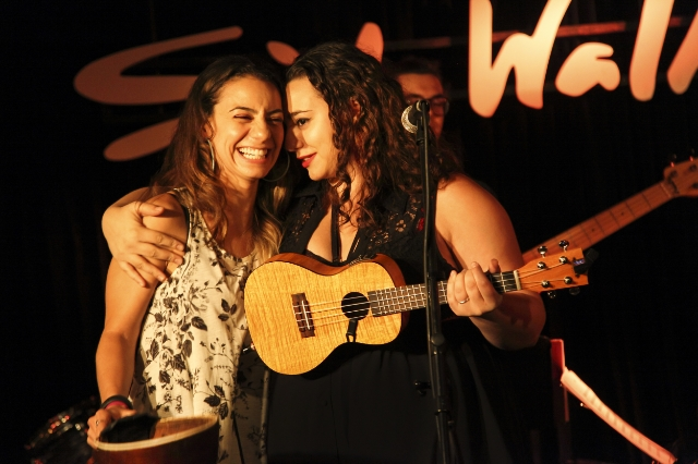 """""""Me and my little sister, Emily Miele use to do a monthly variety show called 'The Miele Sisters' Variety Show' at SideWalk Cafe in NYC. We ended it in July cause she moved to LA. Loved doing this with her."""" / Picture by Phil Provencio / Courtesy of Liz Miele"""