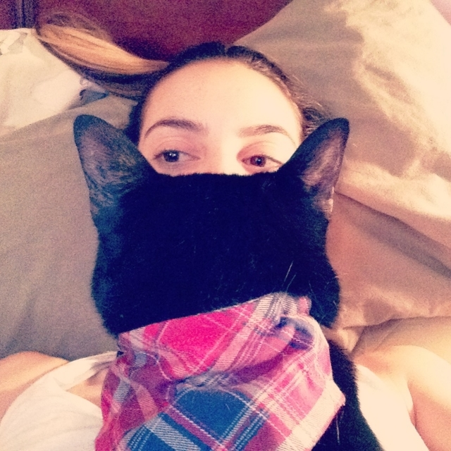 """""""This is one of my fav pics of me and my cat Pasta who I talk a lot about in my act and take too many pictures of on instagram""""  / photo courtesy liz miele"""