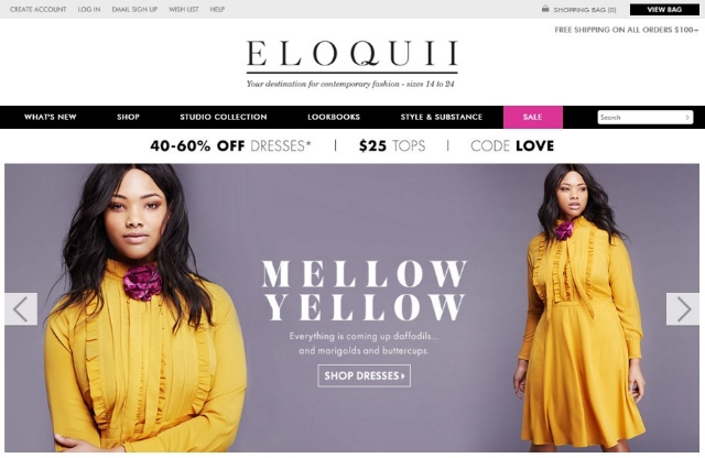 The  ELOQUII.com  homepage / Photo courtesy ELOQUII.