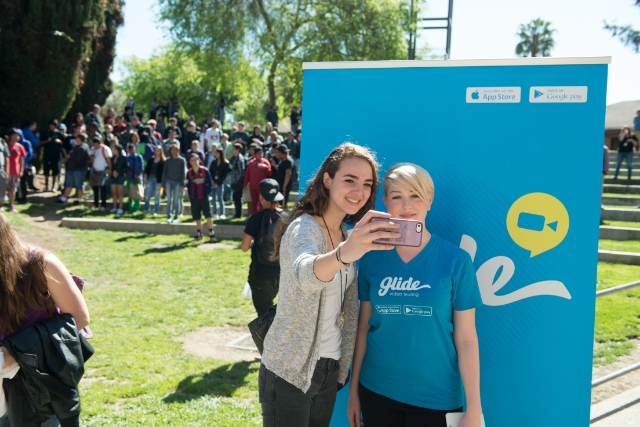 During Sarah's visit to the California School for the Deaf, she got to introduce Glide to many of the high school students. / Photo courtesy Clare Cassidy
