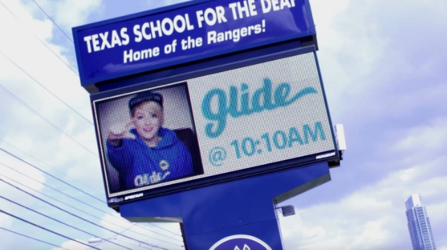 In March 2015, during her visit to Austin, TX for South by Southwest, Sarah made sure to visit the Texas School for the Deaf, where she got to see her face up in lights. / Photo courtesy Sarah Snow