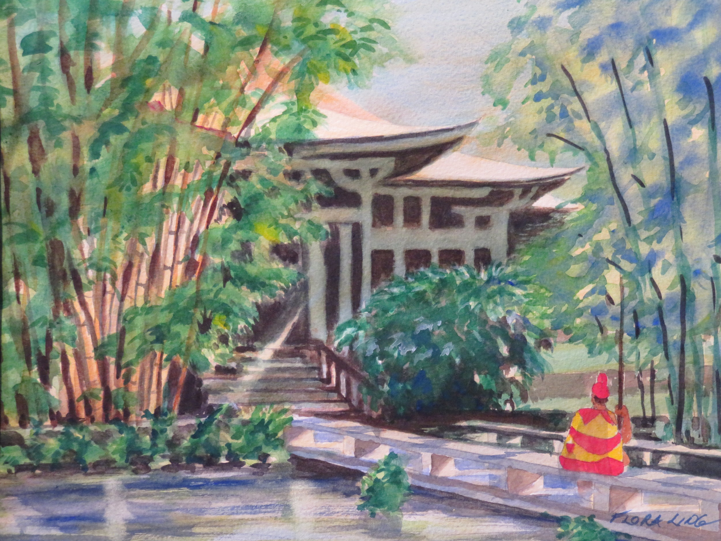 Chinese Hall in Moanalua, Watercolor 11 x 15
