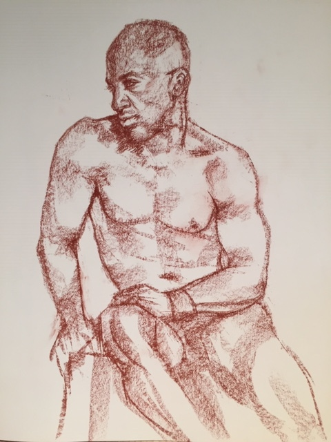 A striking pose, Conte on paper