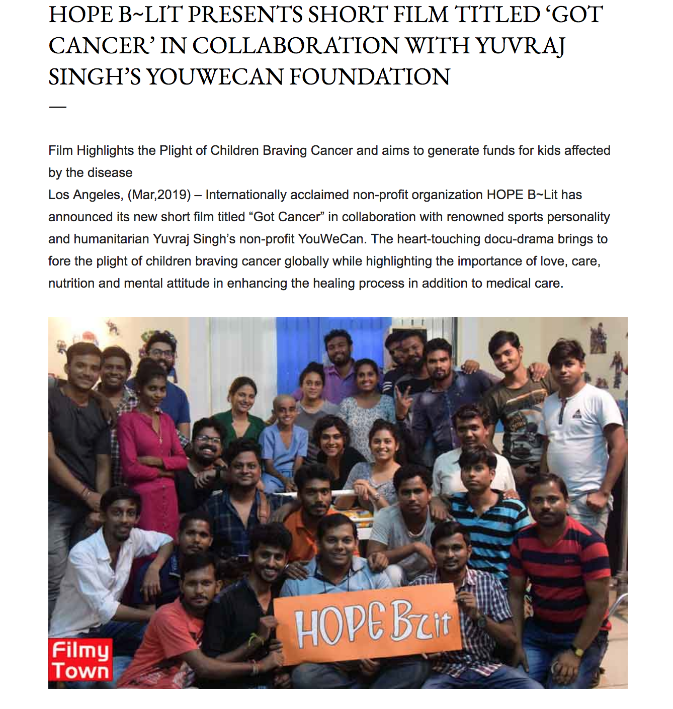 """Inspired by a true incident, the film is written by Ruhi Hak and is enhanced by the sensitive & effective screen writing of Elizabeth Soto Lara. """"Got Cancer"""" displays a unique perspective of children battling cancer with a positive attitude."""