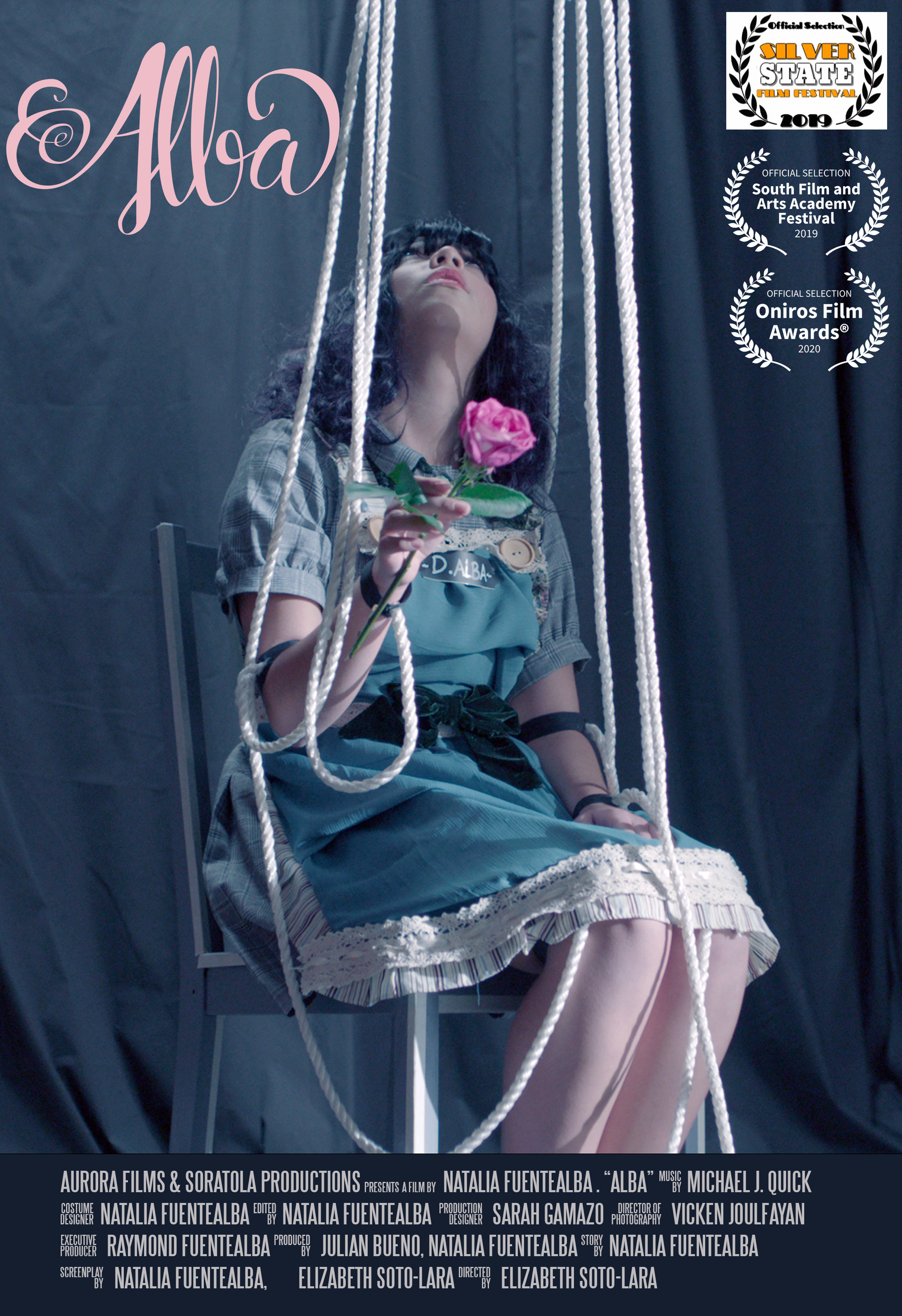 ALBA (2019) - (Short Film/Cortometraje)Credit: Director/Co-Writer.Genre: Experimental/FantasySynopsis:D. Alba, a frustrated baker who does not enjoy fulfilling her family expectations over her own, fights to set free her true self.Country: USA-Chile