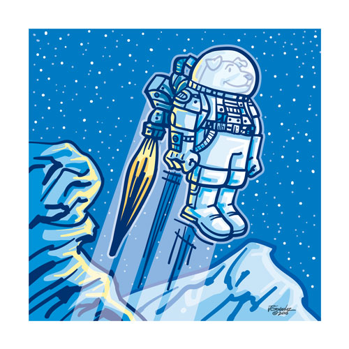 Space Dog Explorer Art Print    $16.00 Free Shipping