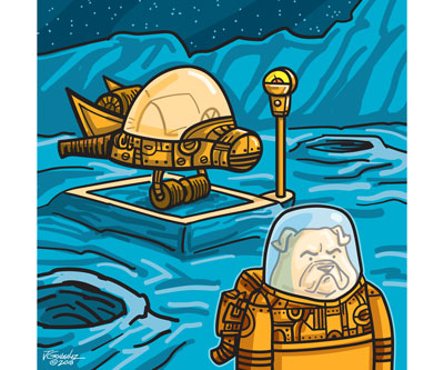 Space Dog Parking Art Print    $16.00 Free Shipping