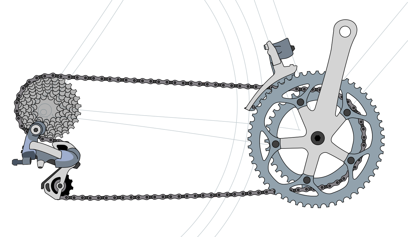 Traditional Derailleur external gears are the norm for most bikes. Pictured is a double chainring setup - most eBikes use a single chainring because the motor means less gear range is needed.