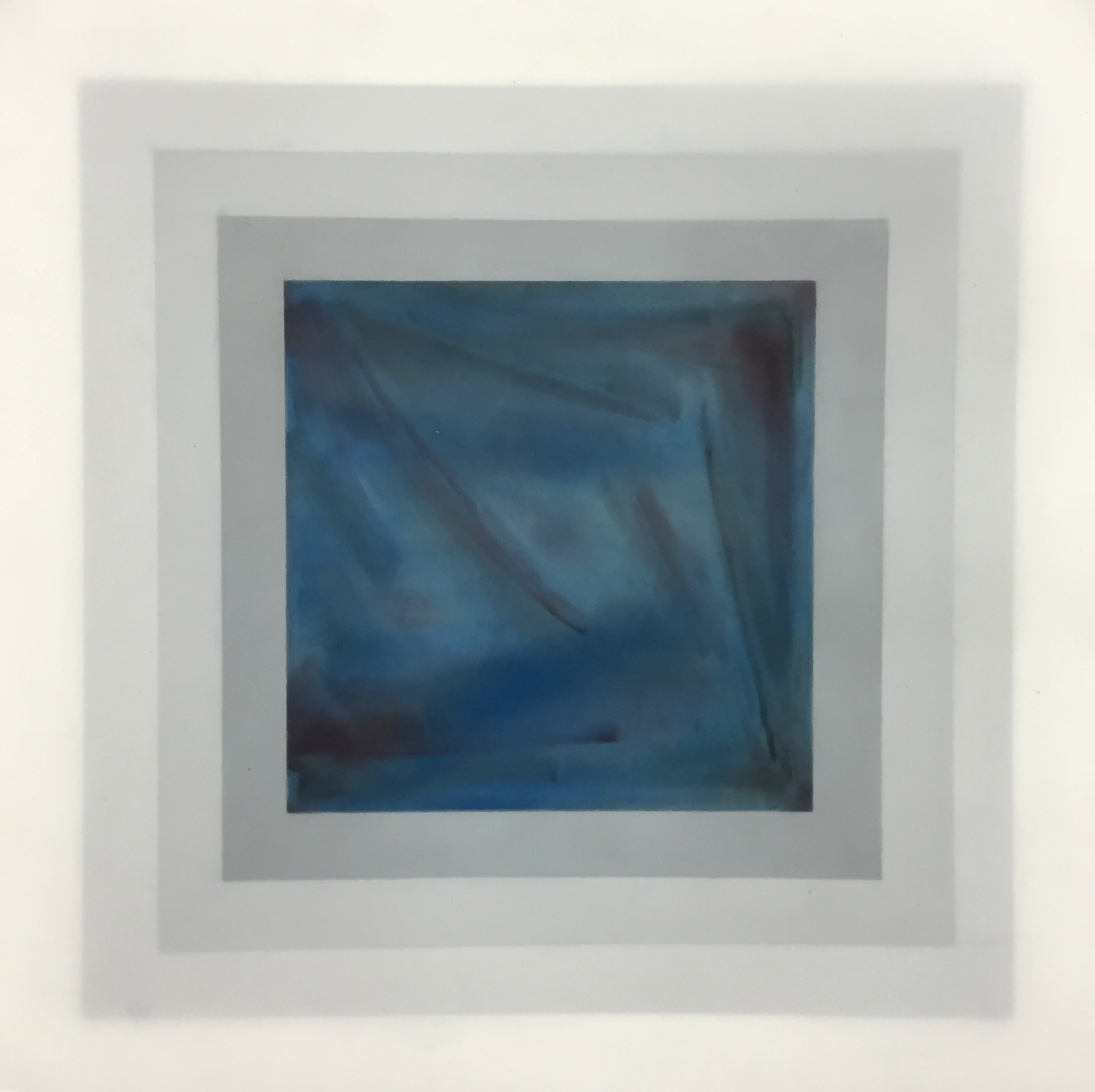"Beyond nothingness, 2016   Pan pastel on four layers of frosted Mylar, 18"" x 18"