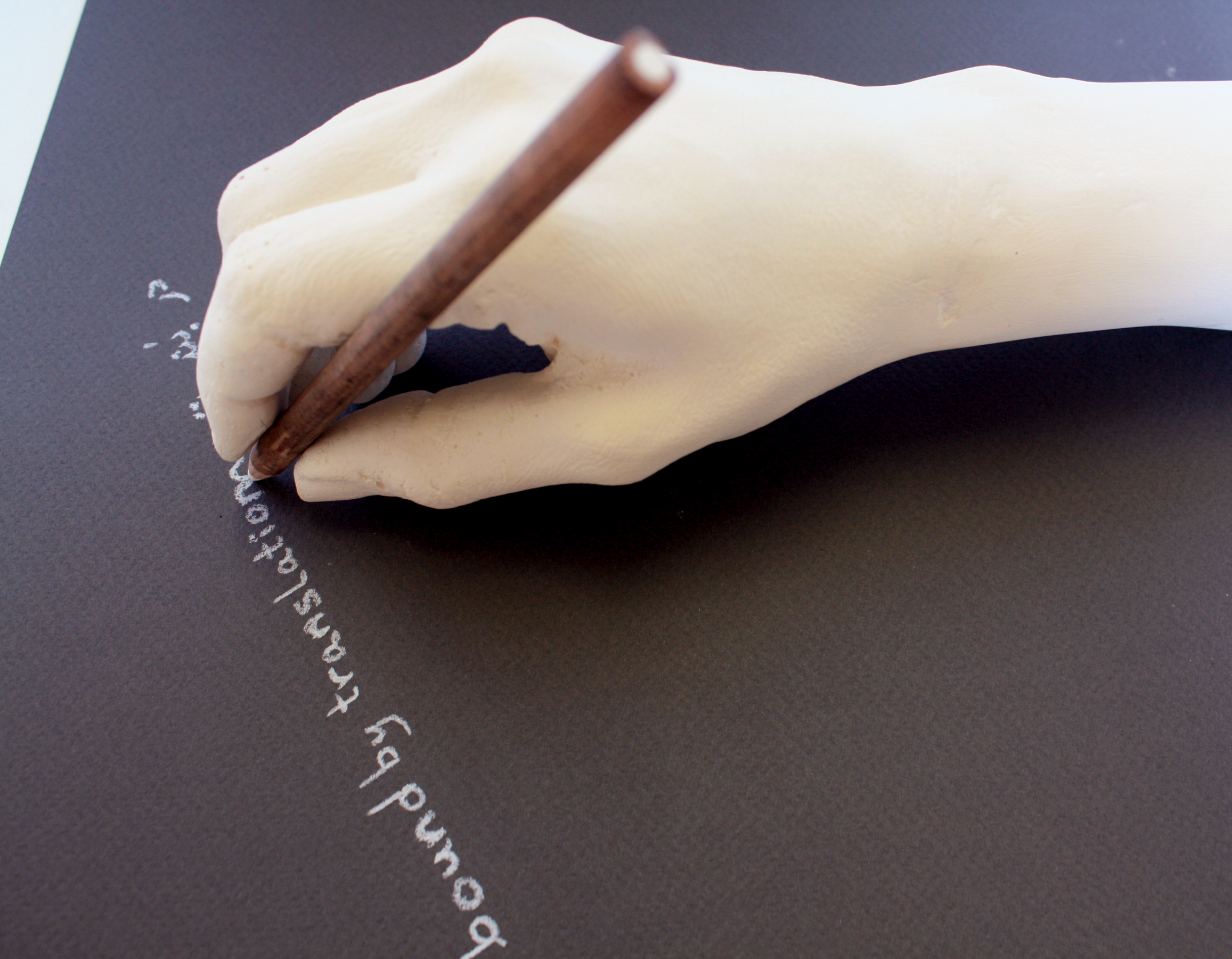 Bound in translation, 2015  Plaster cast, pencil and paper, variable dimension