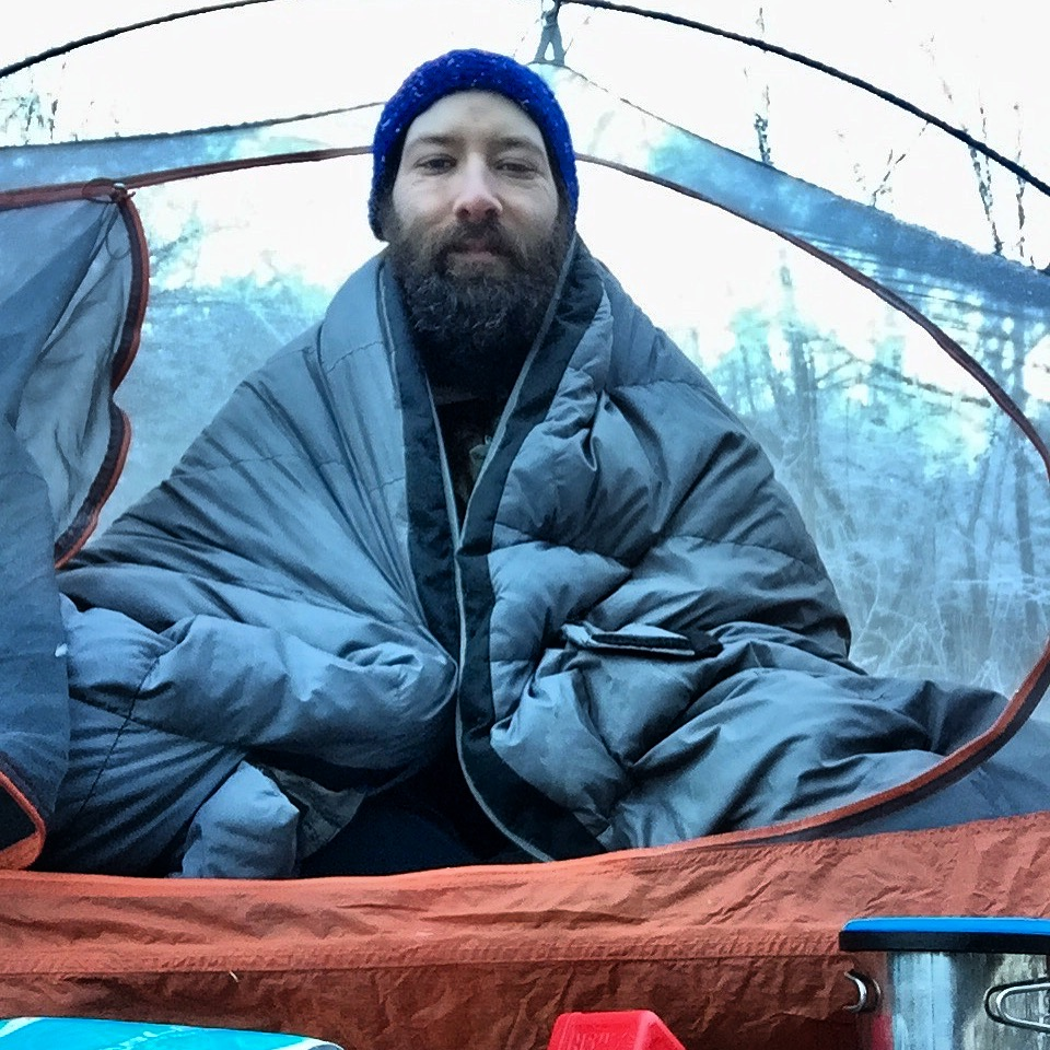 Didn't want to get out of my down sleeping bag burrito.