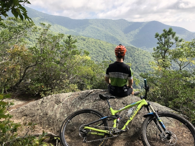 Taking in Pisgah National Forest on the way up to Heart Break Ridge. -