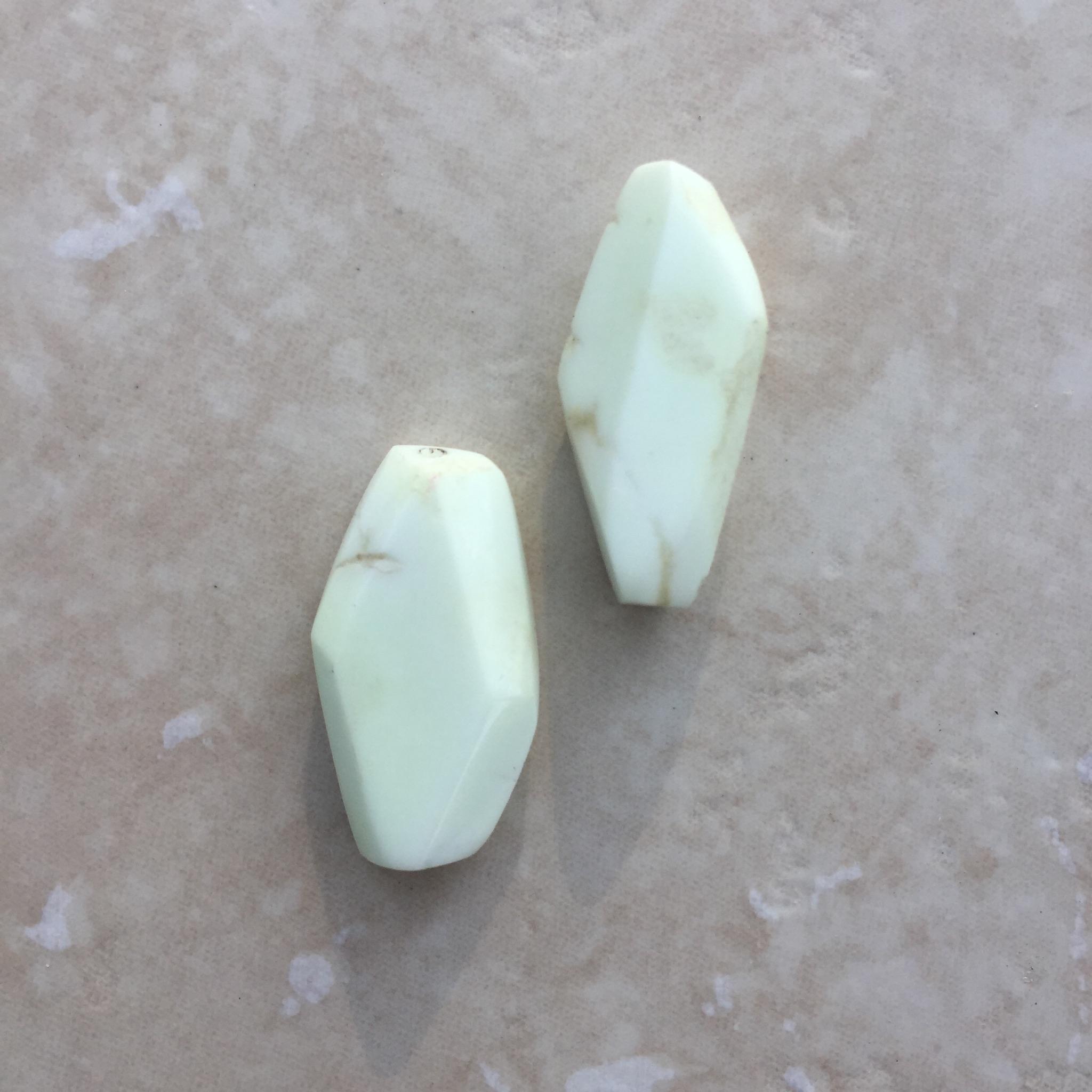 Geometric cut lemon chrysoprase.