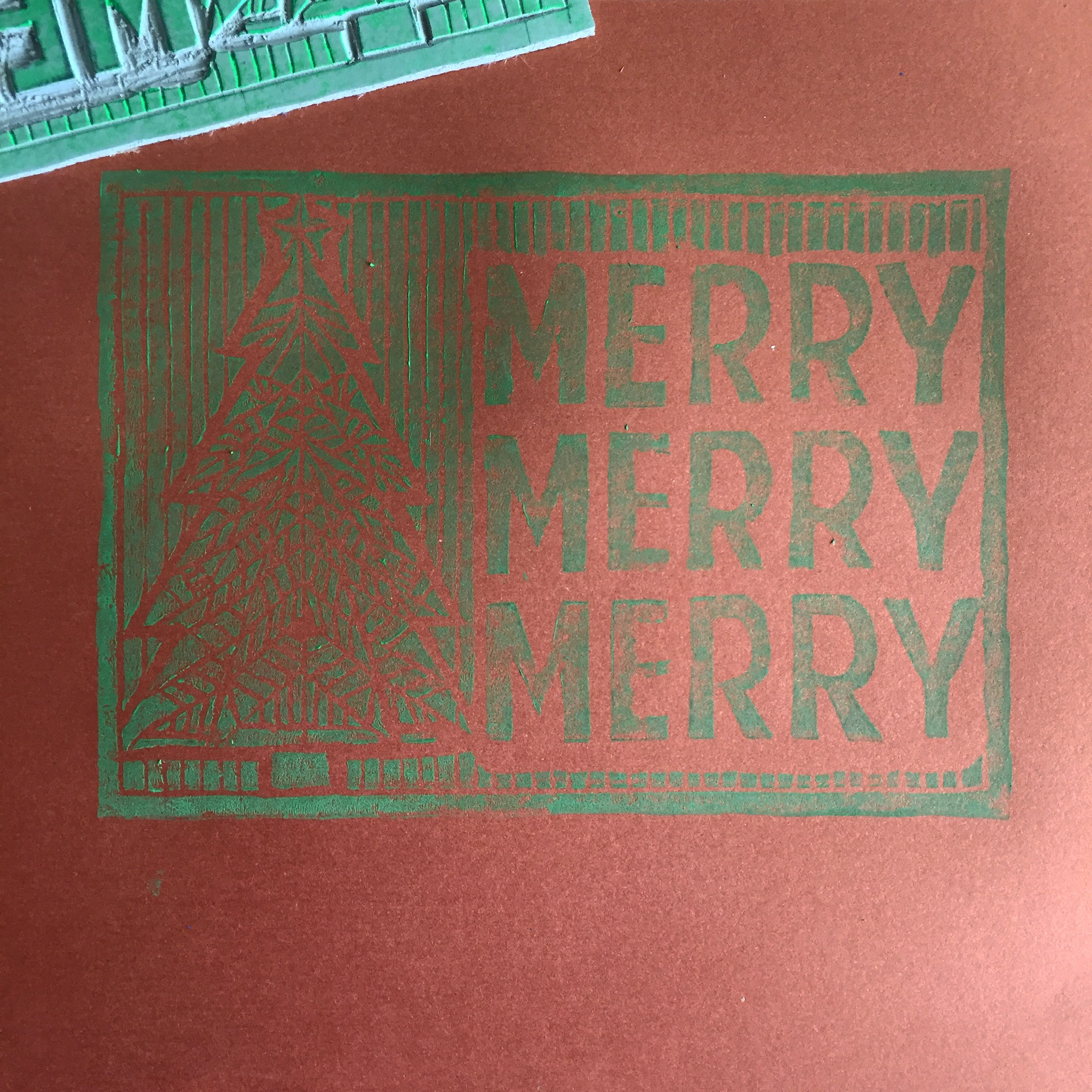 The first printing on metallic copper cardstock.