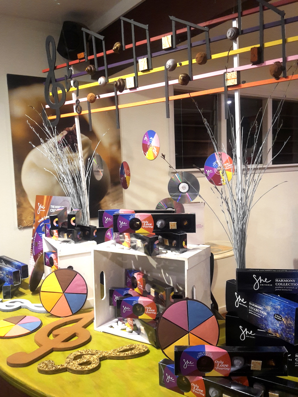 The counter display at She Universe, with chocolate music!