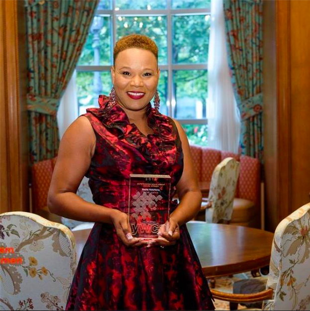 The V(i)llage Co-founder Nedra L. Hotchkins, M.Ed. pictured at the  28th Annual YWCA Leader Luncheon, where she won the Outstanding Achievement Award for Racial Justice (2016) for work in The V(i)llage and Community V(i)llage.