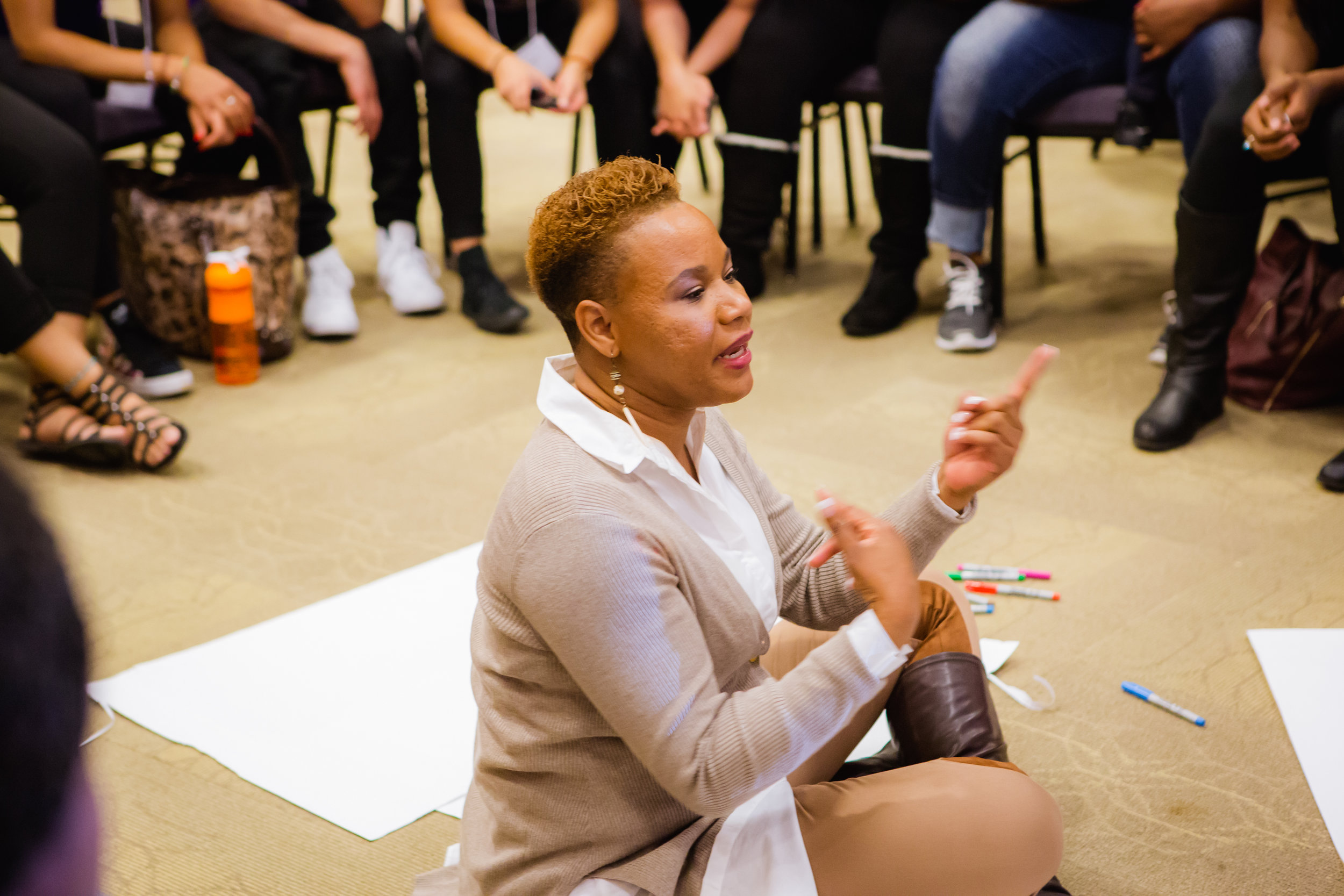 Mrs. Nedra L. Hotchkins educating student leaders who attended her Expect The Great leadership retreat at the University of Utah (2017).