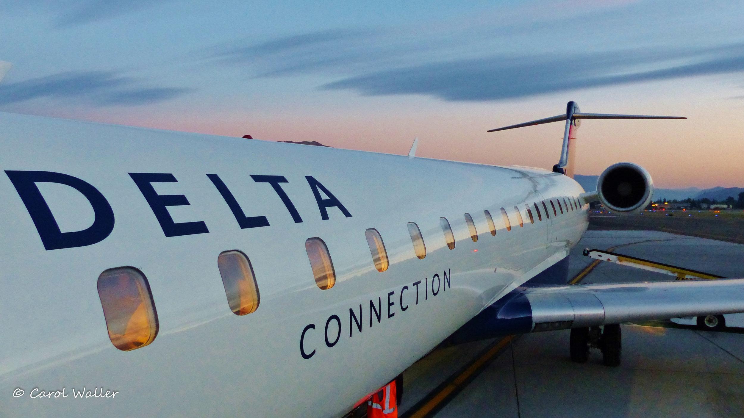 Jet plane Delta sunrise WM. Credit Carol Waller.JPG