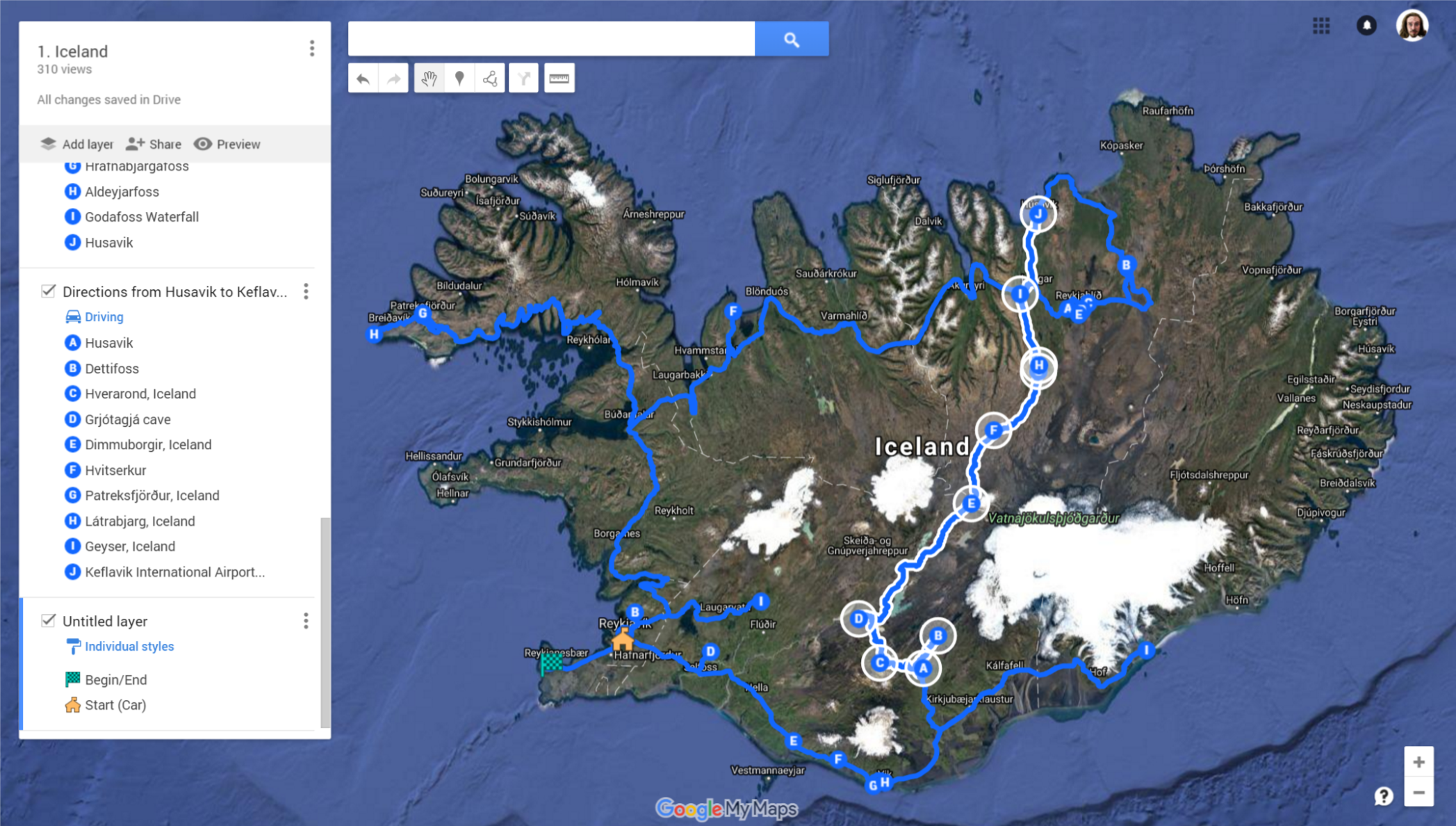 We started in Reykjavik and worked our way south, then backtracked, went north through the highlands and circled back west/south