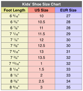 size 29 in us kid shoes