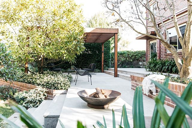 It's time.... a project we did in Sydney featuring stone flooring from @ecooutdoor and plants from @exotic_nurseries and the perfect fire pit from @robert.plumb
